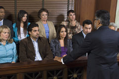 Advokat Addressing Jury Arkivbilder