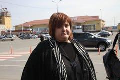 Advokat Violetta Volkova på flygplatsen av Krasnodar Arkivfoto