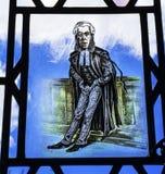 AdvokatStained Glass Law arkiv Yale University New Haven Connecticut Royaltyfri Bild