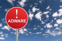Adware illustrated sign stock photos