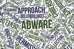 Adware, nube conceptual de la palabra para el negocio, tecnología de la información o las TIC Foto de archivo libre de regalías