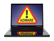 Adware warning sign on laptop screen. Royalty Free Stock Photos