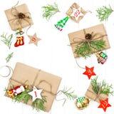 Adwentów prezentów ornamentów kalendarzowe Bożenarodzeniowe dekoracje Fotografia Royalty Free