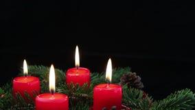 Adwentowe świeczki z kopii przestrzenią zdjęcie wideo