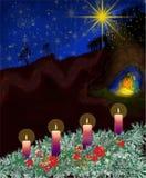 Adwentowy wianek z Bożenarodzeniową narodzenie jezusa scenerią - Advnt jako ścieżka Obraz Stock