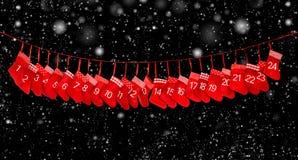 Adwentu kalendarzowy sztandar Czerwoni boże narodzenia zaopatruje czarnego tło Zdjęcia Royalty Free
