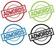 ADWORDS文本,在圆的简单的邮票标志 库存照片
