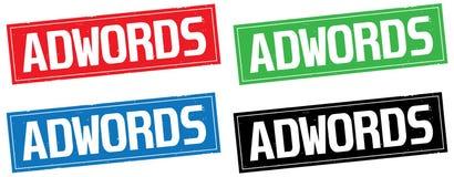 ADWORDS文本,在长方形邮票标志 库存照片