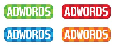 ADWORDS文本,在长方形, Z形图案邮票标志 库存图片