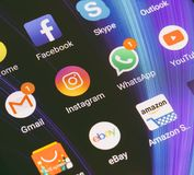 WhatsApp, YouTube, instagram, Facebook, Skype and other app icons on the smartphone screen Xiaomi. Adygea, Russia - January 2, 2018: WhatsApp, YouTube, instagram Stock Photo