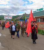 Parade on victory day with the participation of schoolchildren and Cossacks. Adygea, Russia - May 9, 2017: Immortal regiment, Parade on victory day with the Royalty Free Stock Images