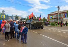 Parade on victory day with the participation of schoolchildren and military equipment. Adygea, Russia - May 9, 2017: Immortal regiment, Parade on victory day Royalty Free Stock Photography