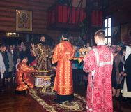 Festive Liturgy in the Orthodox Church with the participation of Archbishop. Adygea, Russia - November 8, 2017: festive Liturgy in the Orthodox Church with the Stock Photo