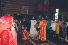 The vestments of the Bishop at the divine Liturgy in the Orthodox Church Royalty Free Stock Image