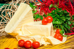 Adygei cheese chunks of homemade Royalty Free Stock Photography