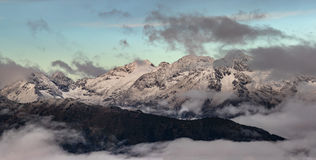 Adzharo-Imeretinskiy Range at sunrise. Caucasus mountains. Royalty Free Stock Photos