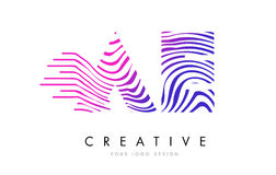 AE A D Zebra Lines Letter Logo Design with Magenta Colors. AE A D Zebra Letter Logo Design with Black and White Stripes Vector stock illustration