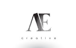 AE Logo Design With Multiple Lines and Black and White Colors. AE Logo Design With Multiple Lines. Artistic Elegant Black and White Lines Icon Vector Stock Photo