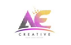 AE una letra Logo Design de D con los puntos magentas y Swoosh libre illustration