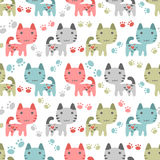 Aeamless pattern with sweet kittens stock illustration