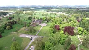 Aearial shot of a Park in forest Landscape castle Scotland Great Britain. Aearial shot of a Park in a forest Landscape castle Scotland Great Britain stock video