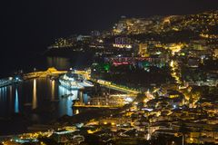 Aearial view at night of Funchal, capital city of Madeira Island, Portugal Royalty Free Stock Image
