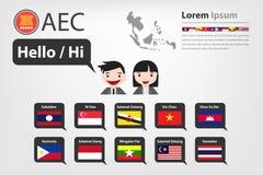 AEC国家(传染媒介eps10)的问候词 库存照片