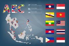 AEC运输地图和连接传染媒介 库存图片