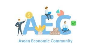 AEC, община экономики АСЕАН Концепция с ключевыми словами, письмами и значками Плоская иллюстрация вектора Изолировано на белизне иллюстрация вектора