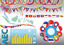 AEC or ASEAN or south east asian design element flag illustration Royalty Free Stock Photography