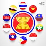 AEC, Asean wspólnoty gospodarczej flaga symbole Zdjęcie Stock