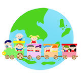 AEC Asian Kids on the train. Children from 10 asean countries Royalty Free Stock Photos