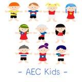 AEC azjata dzieciaki ilustracji