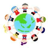 AEC azjata dzieciaki na globalnym royalty ilustracja