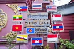 AEC-bandera y símbolo en Tailandia Foto de archivo libre de regalías