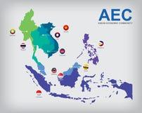 AEC countries map. AEC Asean Economic Community map Royalty Free Stock Photo