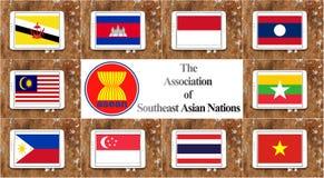 AEC de la comunidad económica de la Asociación de Naciones del c@sureste Asiático Imagen de archivo libre de regalías