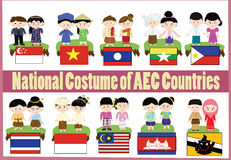 AEC national custome. AEC countries show their national costume Royalty Free Stock Photo