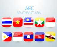 AEC Southeast Asia flag icon. Vector illustration Stock Photography