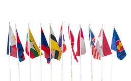 AEC, Ten countries flags in the ASEAN region isolated. On white background Stock Photo