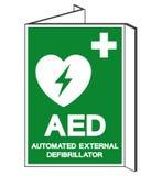 AED automatiserade det yttre Defibrillatorsymboltecknet, vektorillustrationen, isolat på den vita bakgrundsetiketten EPS10 vektor illustrationer