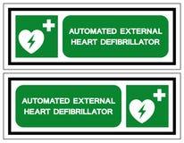 AED automatiserade det yttre Defibrillatorsymboltecknet, vektorillustrationen, isolat p? den vita bakgrundsetiketten EPS10 stock illustrationer