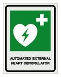 AED automatiserade det yttre Defibrillatorsymboltecknet, vektorillustrationen, isolat p? den vita bakgrundsetiketten EPS10 vektor illustrationer