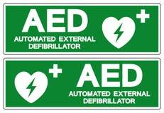 AED automatiserade det yttre Defibrillatorsymboltecknet, vektorillustrationen, isolat p? den vita bakgrundsetiketten EPS10 royaltyfri illustrationer