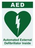AED Automatyzujący Zewnętrznie Defibrillator Inside Na miejsce tekscie, Zielona ikona, bielu majcheru Szyldowej etykietki Odosobn Zdjęcia Royalty Free