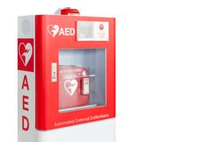AED box or Automated External Defibrillator medical first aid device isolated on white stock image