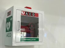 AED & CPR Rescue Kits box. In the airport Royalty Free Stock Photos