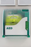 Aed. Defibrillator in the box at public place Stock Images
