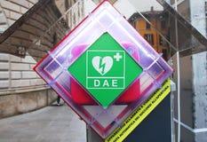 AED in einer Straße Lizenzfreies Stockfoto