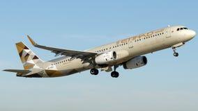 A6-AED Etihad Airways, Aerobus A321-231 Fotografia Stock